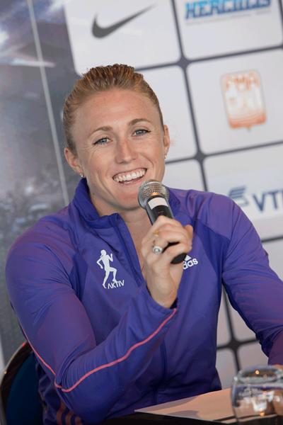 Sally Pearson at the Monaco Diamond League press conference (Philippe Fitte)
