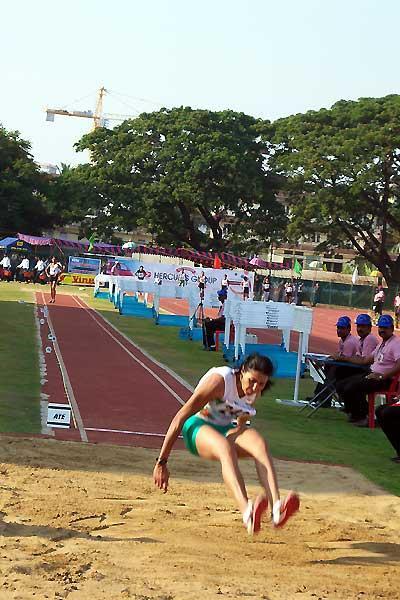 Anju Bobby George long jumping at the South Asian Champs in Kochi (Ram. Murali Krishnan)