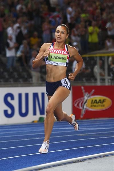 Jessica Ennis of Great Britain & Northern Ireland on her way to securing the first World Championship title for her country at the 12th IAAF World Athletics Championships in Berlin (Getty Images)