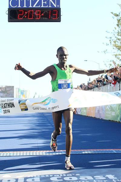 Silah Limo winning the 2014 Gold Coast Marathon (organisers)