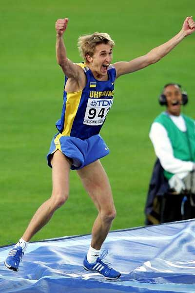 Yuriy Krymarenko of Ukraine celebrates winning gold in the men's High Jump (Getty Images)