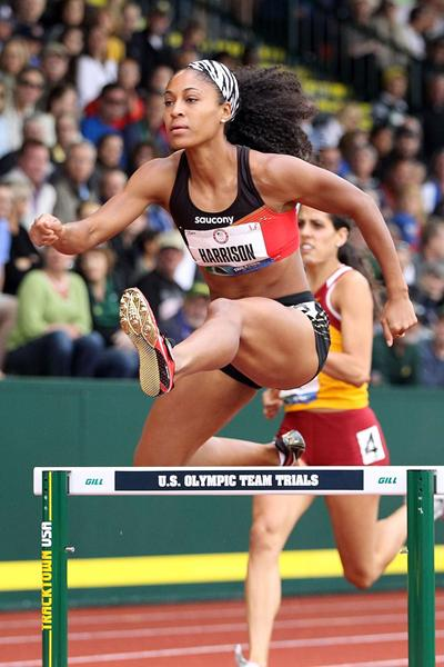 US hurdler Queen Harrison in action (Getty Images)