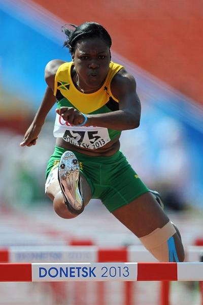 Yanique Thompson in the girls' 100m Hurdles at the IAAF World Youth Championships 2013  (Getty Images)