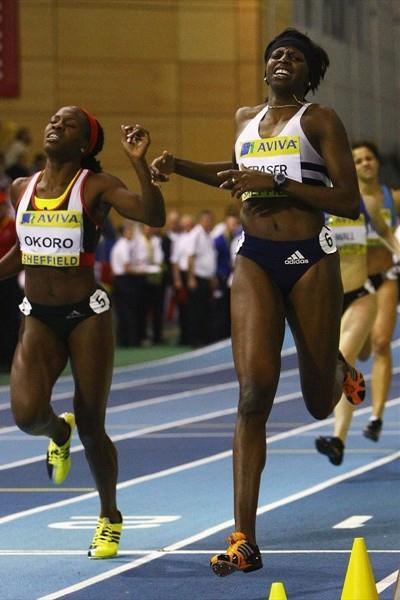 Donna Fraser (r) outkicks Marilyn Okoro to complete her 200/400m double in Sheffield (Getty Images)