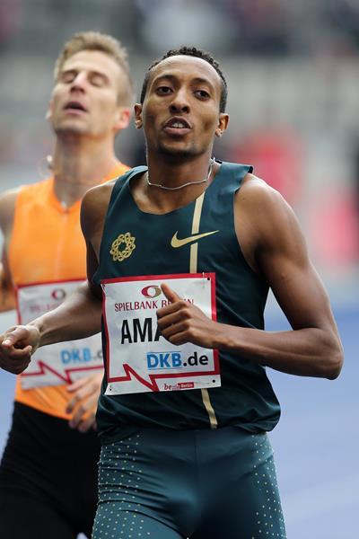 Mohammed Aman winning the 800m at the 2014 ISTAF Berlin meeting (Gladys von der Laage)