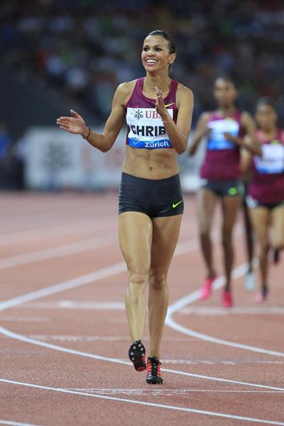 Habiba Ghribi after winning the 3000m steeplechase at the 2014 IAAF Diamond League final in Zurich (Jean-Pierre Durand)