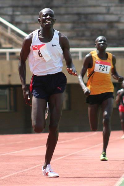 Teenager Abraham Chepkirwot en route to his 1:45.0 win at the Akii-Bua memorial in Kampala (Daniel Senfuma)