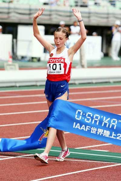 Olga Kaniskina (RUS) wins the 20km Race Walk (Getty Images)