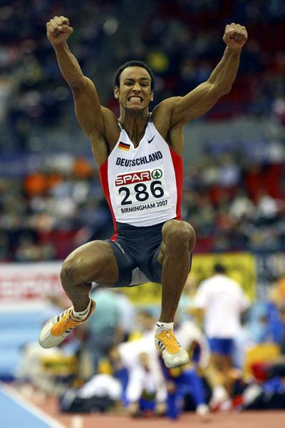 Germany's Jacob Minah in the Heptathlon at the 2007 European Indoor Championships in Birmingham (Getty Images)