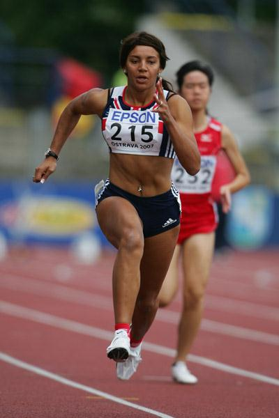 Ashlee Nelson of Great Britain in action in the 100m (Getty Images)