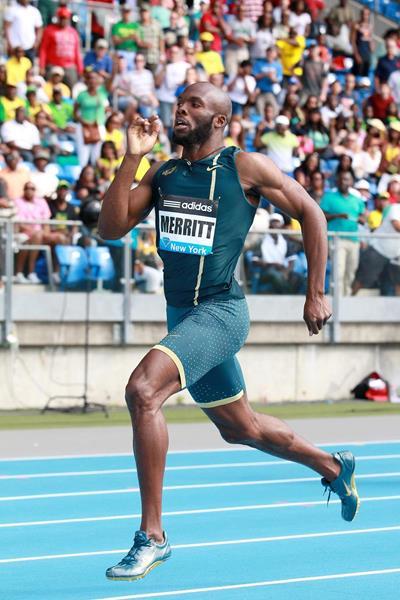 LaShawn Merritt at the 2014 IAAF Diamond League in New York (Victah Sailer)