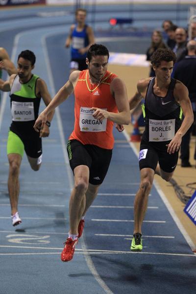 Brian Gregan winning at the 2013 Gent Indoor meeting (Jean-Pierre Durand)