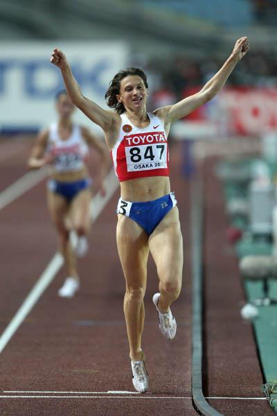 Yekaterina Volkova celebrates winning gold in the women's 3000m Steeplechase (Getty Images)