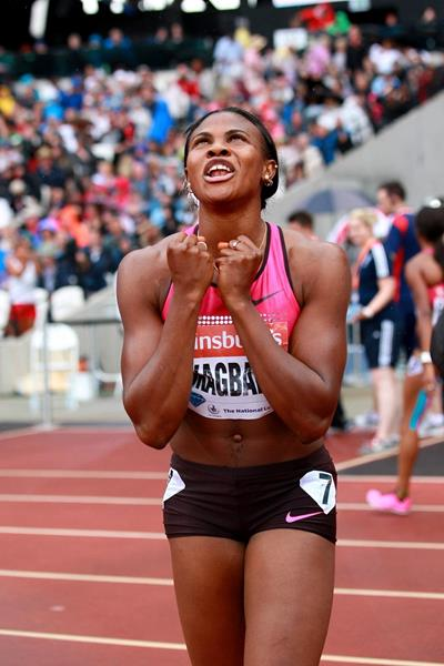 Blessing Okagbare at the 2013 IAAF Diamond League in London (Victah Sailer )