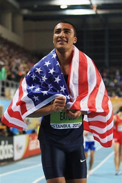 USA's Ashton Eaton celebrates after winning gold in the heptathlon in Istanbul (Getty Images)