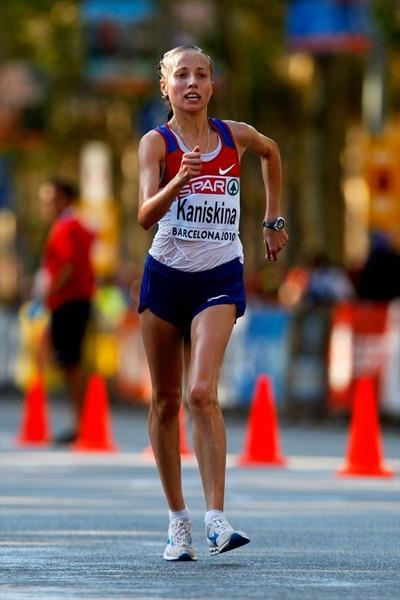 Olga Kaniskina on the way to a dominating 20Km victory in Barcelona (Getty Images)