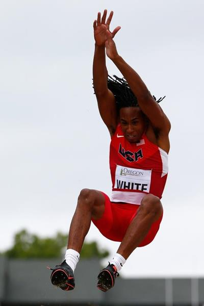 Travonn White in the long jump at the 2014 IAAF World Junior Championships in Eugene (Getty Images)