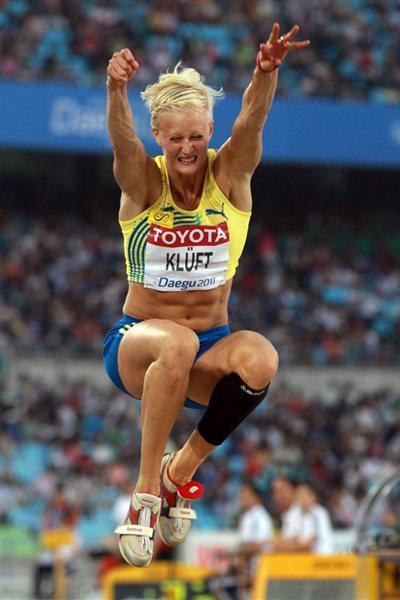 Carolina Kluft of Sweden competes in the women's long jump final during day two  (Getty Images)