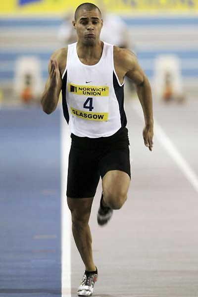 Jason Gardener powering to 60m win in Glasgow (Getty Images)