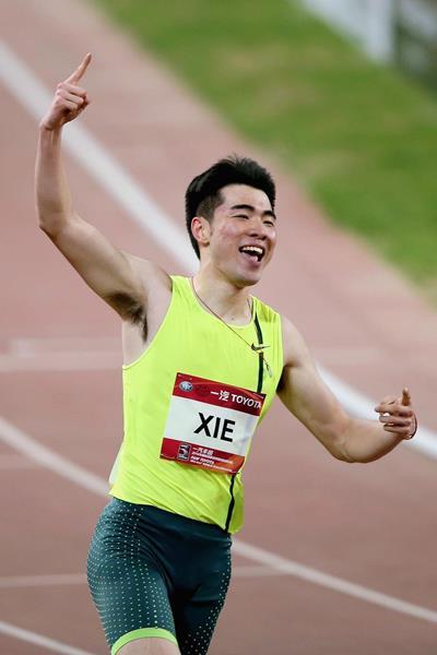 Xie Wenjun, winner of the 110m hurdles in Shanghai (Getty Images)