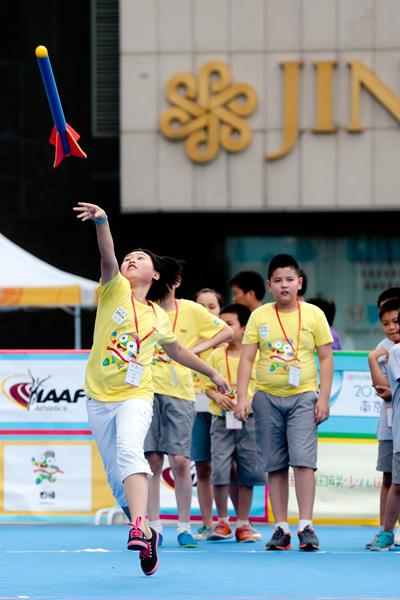 Children throwing the foam javelin at the IAAF Kids' Athletics event in Nanjing (Getty Images)