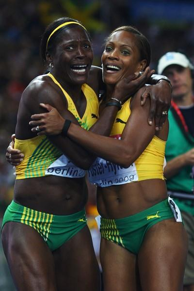 Brigitte Foster-Hylton (R) of Jamaica and Delloreen Ennis-London of Jamaica scream at the news of winning the gold and silver medals in the women's 100m hurdles at the 12th IAAF World Championsghips in Athletics in Berlin (Getty Images)