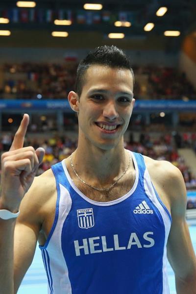 Pole vault winner Konstadinos Filippidis at the 2014 IAAF World Indoor Championships in Sopot (Getty Images)