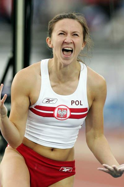 Monika Pyrek of Poland celebrates winning silver in the women's Pole Vault (Getty Images)