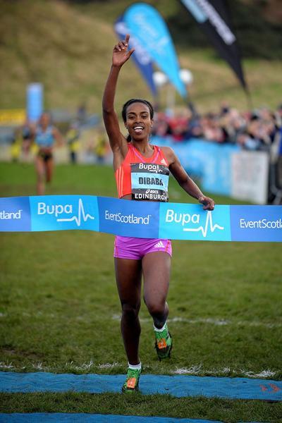 Genzebe Dibaba wins the international women's 3km race at the Bupa Edinburgh Cross Country (Mark Shearman)