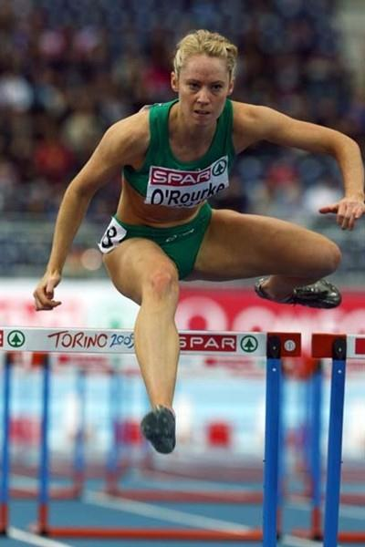 Former world indoor champion Derval O'Rourke of Ireland wins her heat of the 60m Hurdles in Turin (Getty Images)