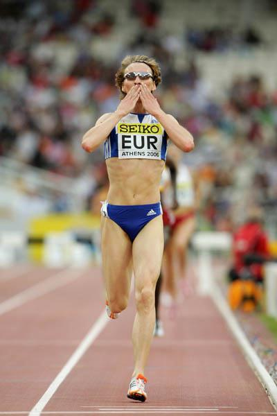 Alesia Turava (BLR) the winner of the 3000m Steeplechase in Athens (Getty Images)