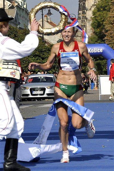 Maryna Damantsevich winning the Kosice Peace Marathon (Kosice Peace Marathon organsers)