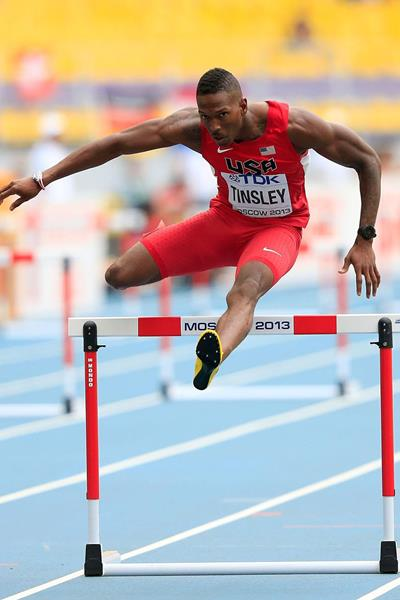 Michael Tinsley in the mens 400m Hurdles at the IAAF World Championships Moscow 2013 ()