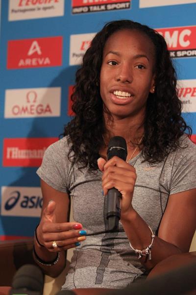 Brigetta Barrett at the press conference ahead of the IAAF Diamond League meeting in Paris (Jean-Pierre Durand)