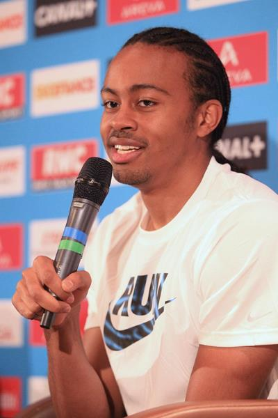 Aries Merritt at the pre-event press conference for the 2013 IAAF Diamond League In Paris (Jean-Pierre Durand)