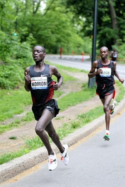 Leonard Patrick Komon and Micah Kogo in Central Park (Courtesy New York Road Runners)