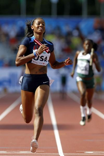 Ashley Collier anchors the USA team to the women's 4x100m gold medal (Getty Images)