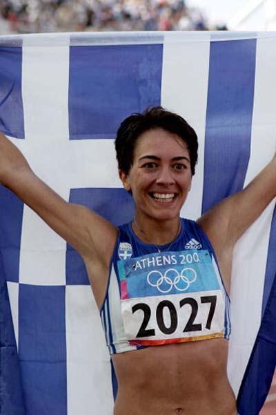 Athanasia Tsoumeleka of Greece celebrates winning gold in the women's 20km walk (Getty Images)