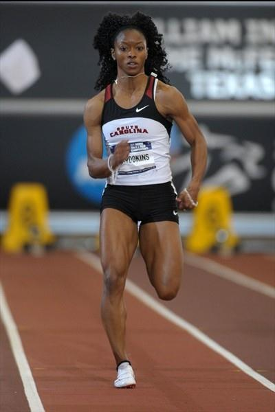 LaKya Brookins en route to her second NCAA indoor 60m title, this time in 7.09 to equal the collegiate record (Kirby Lee)