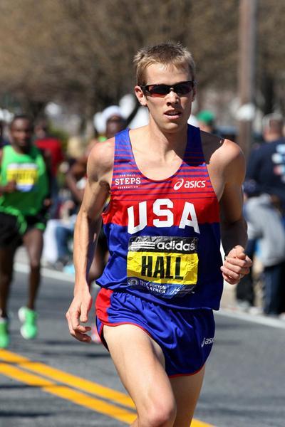Ryan Hall at the Boston Marathon (Victah Sailor)