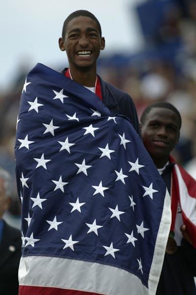 Jason Richardson of the USA celebrates winning the 400m Hurdles in Sherbrooke (Getty Images)