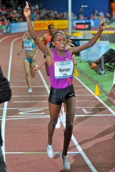 Mercy Njoroge crosses the line with a 3000m world leader in Karlsruhe (KMK)