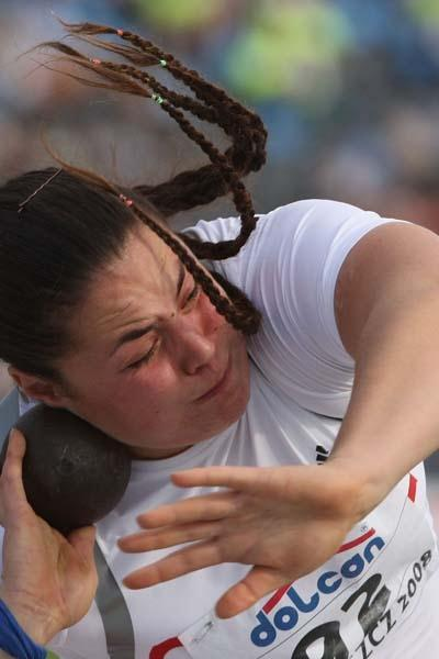 Natalia Duco of Chile on her way to victory in the Final of the Women's Shot Put (Getty Images)