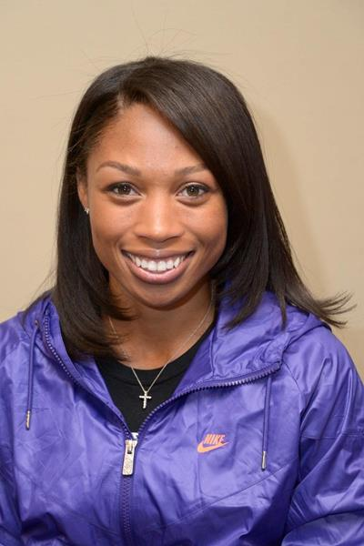 Allyson Felix at the press conference ahead of the 2013 IAAF Diamond League meeting in Eugene (Kirby Lee)