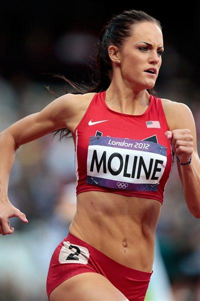 Georganne Moline of the United States competes in the Women's 400m Hurdles Round 1 Heats on Day 9 of the London 2012 Olympic Games at the Olympic Stadium on August 5 (Getty Images)