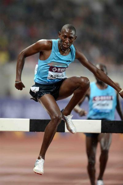 Conseslus Kipruto on his way to victory in the 3000m Steeplechase at the Shanghai Diamond League (Jiro Mochizuki)