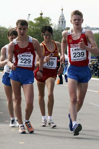 Aleksey Bartsaykin of Russia, Denis Strelkov of Russia and Lluis Torla of Spain during the Junior Men' 10km race (Getty Images)