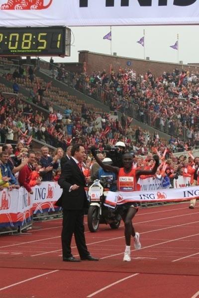 Solomon Busendich winning his marathon debut in Amsterdam (Race organisers)