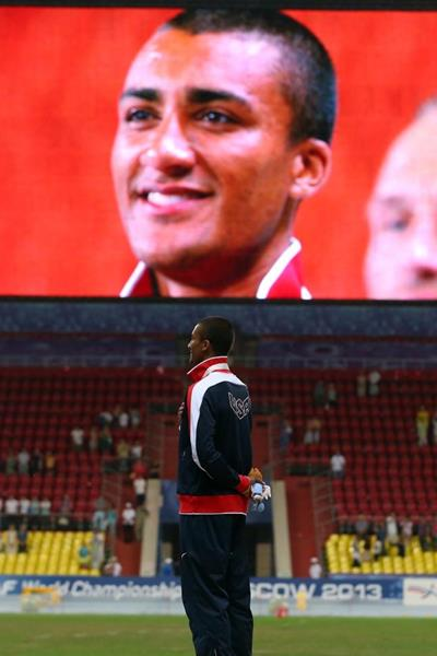 Ashton Eaton in the mens Decathlon Medal Ceremony at the IAAF World Championships Moscow 1013 (Getty Images)
