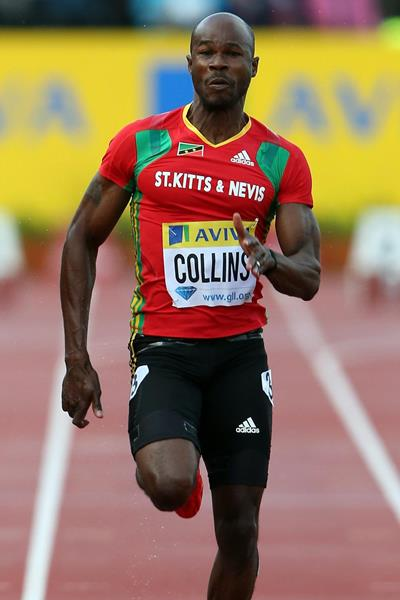 Kim Collins in action at the IAAF Diamond League meeting in London (Getty Images)